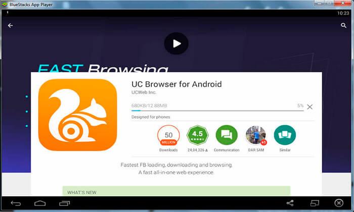 скачивание uc browser для компьютера используя эмулятор