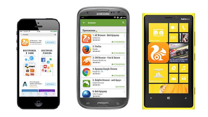 uc browser на разных телефонах
